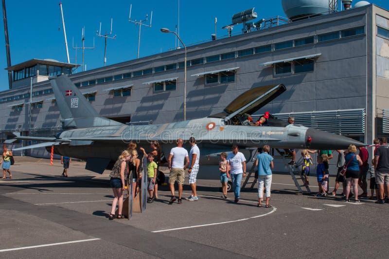 皇家丹麦空军队F-16战斗机 库存图片
