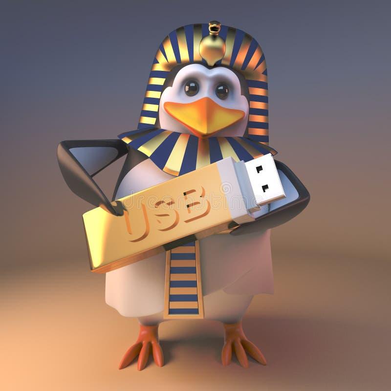 皇家企鹅法老王拿着一根金黄USB拇指推进记忆棍子,3d的Tutankhamun例证 向量例证