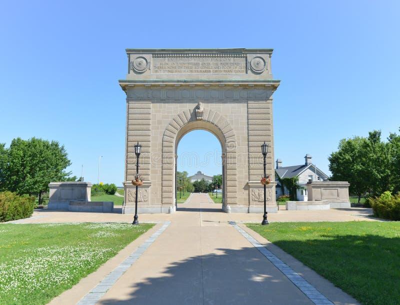 皇家军事学院纪念曲拱,金斯敦,安大略 库存照片