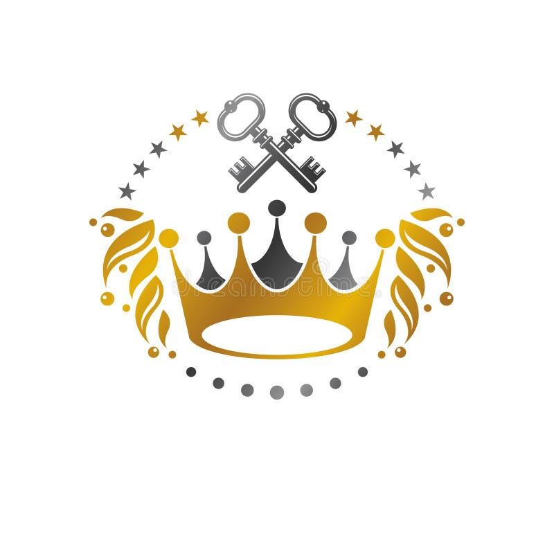 皇家冠象征 纹章学徽章装饰商标被隔绝的传染媒介例证 向量例证