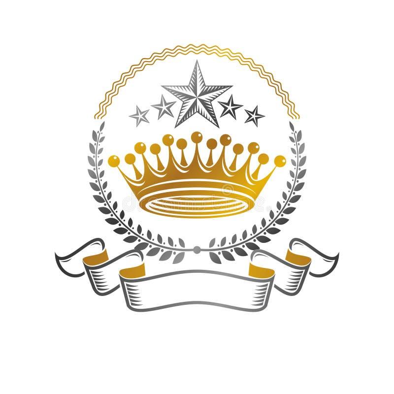 皇家冠象征 纹章学徽章装饰商标被隔绝的传染媒介例证 在老牌的华丽略写法在白色 向量例证