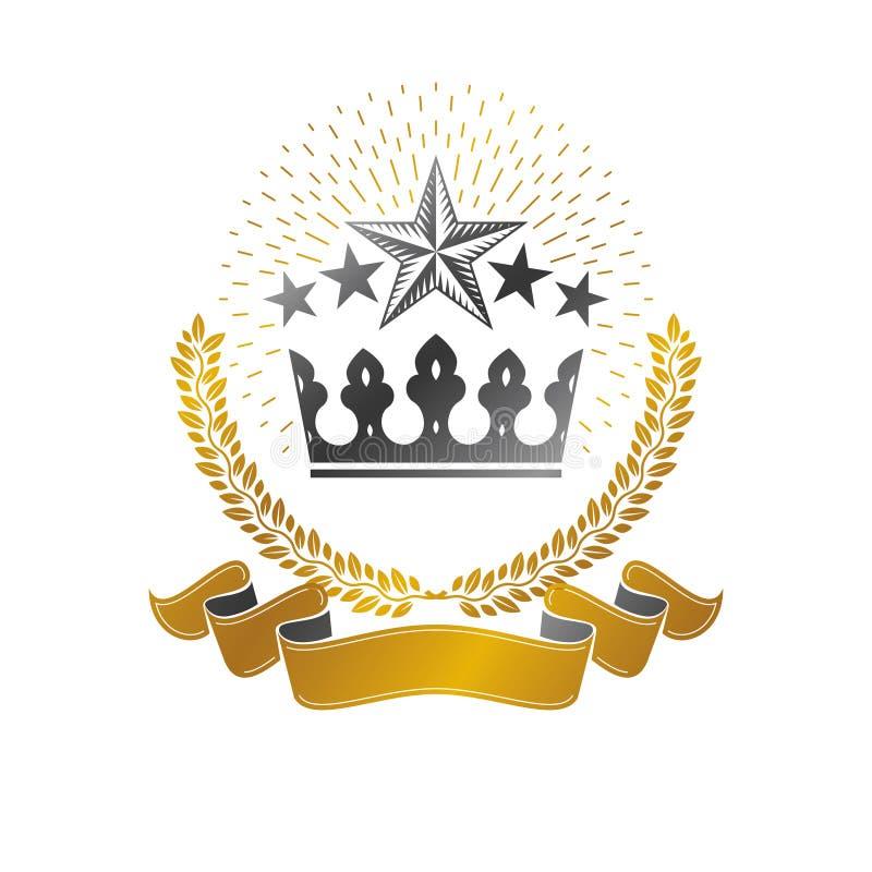 皇家冠象征 纹章学徽章装饰商标被隔绝的传染媒介例证 在老牌的古老略写法在白色 皇族释放例证