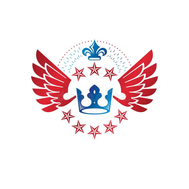 皇家冠象征 纹章学徽章装饰商标被隔绝的传染媒介例证 在老牌的古老略写法在白色 向量例证
