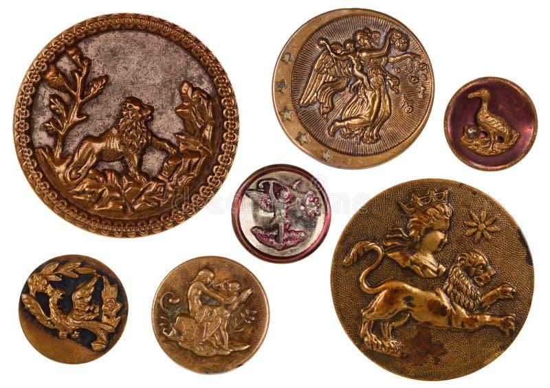 皇家古色古香的缝合的按钮 库存图片