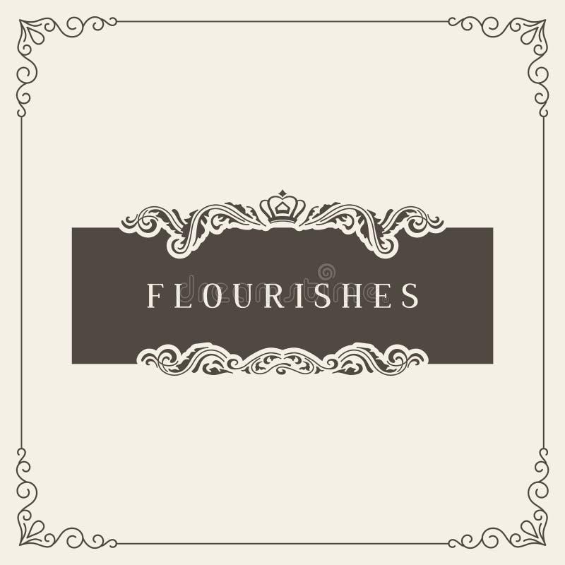 皇家商标设计模板传染媒介装饰,华丽书法典雅的装饰品分格线 有益于豪华 向量例证