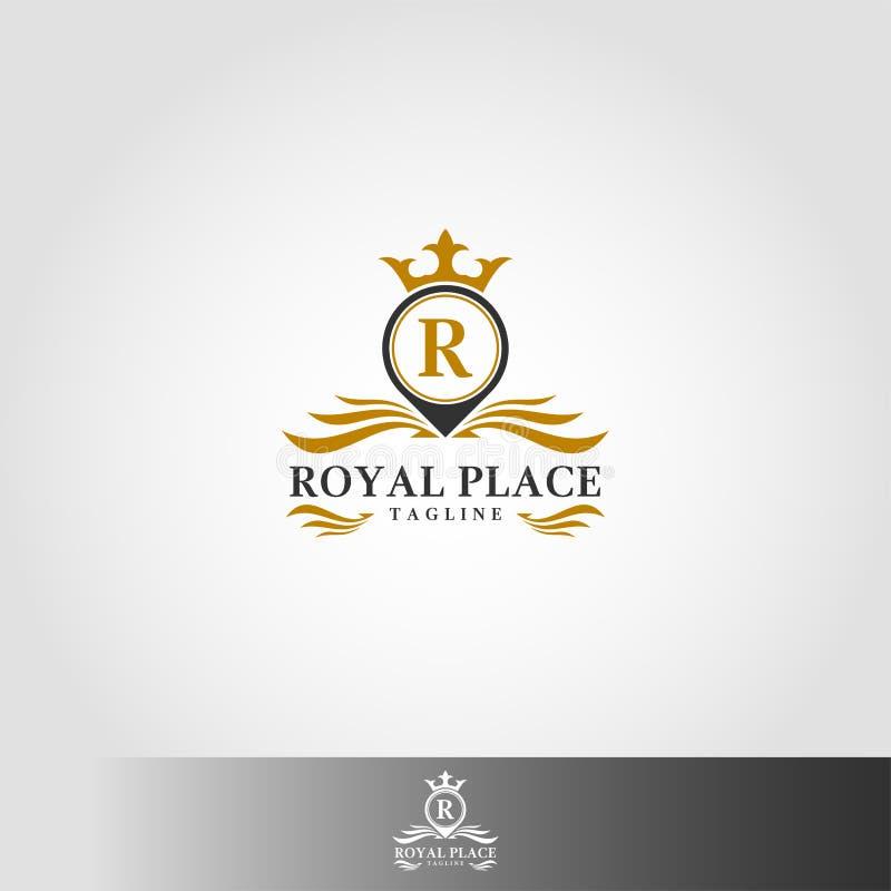 皇家地方商标模板-与豪华经典信件概念的时髦的地方商标 向量例证
