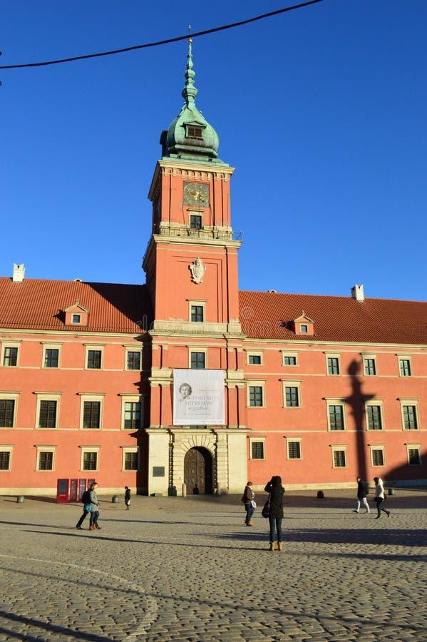 皇家城堡凝视Miasto老镇华沙波兰 库存照片