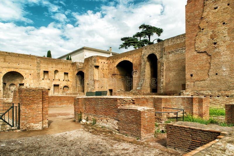 皇家宫殿废墟帕勒泰恩小山的在罗马 免版税库存图片