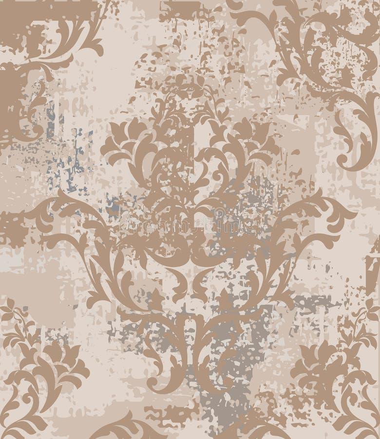 皇家巴洛克式的样式葡萄酒背景传染媒介 被装饰的纹理豪华设计 皇家纺织品装饰 向量例证