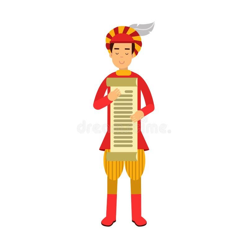 皇家拿着纸卷,五颜六色的例证的抄写员中世纪字符 皇族释放例证