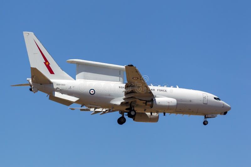 皇家澳大利亚人空军队RAAF波音E-7A Wedgetail A30-003双发动机空中预警和控制AEW-C航空器 图库摄影