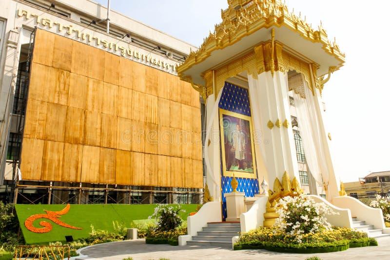 皇家火葬场复制品的秀丽在曼谷城市居民管理的 库存图片