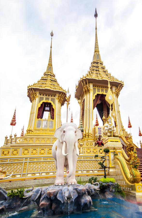 皇家火葬用的柴堆国王Rama第9泰国 免版税图库摄影
