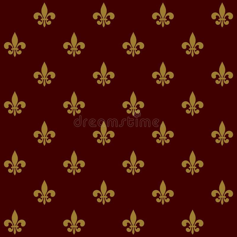 皇家百合尾花无缝的样式 向量 皇族释放例证