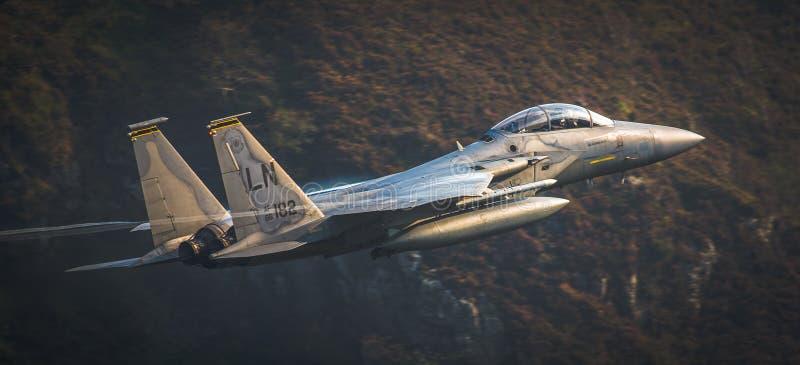 从皇家空军Lakenheath的美国空军F15 图库摄影