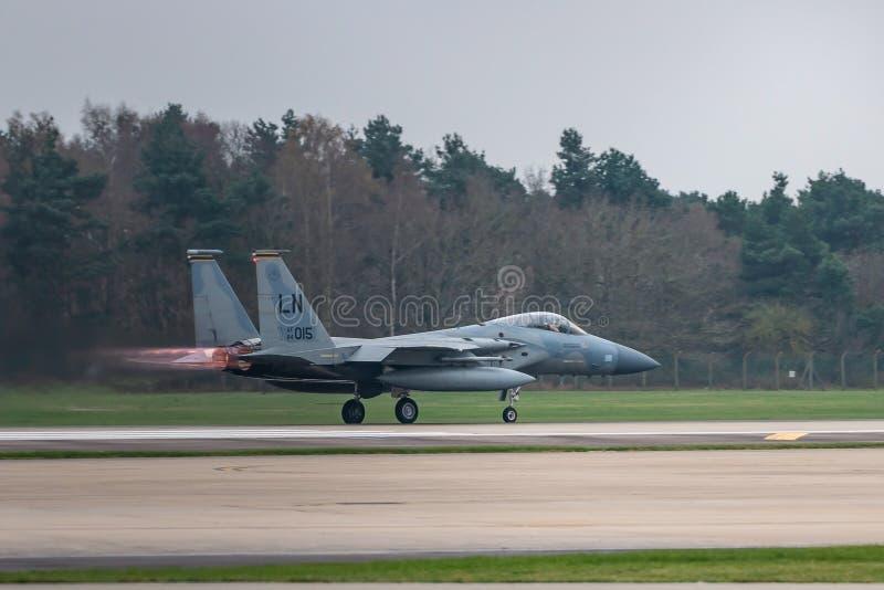 皇家空军Lakenheath F-15美国空军喷射 库存图片