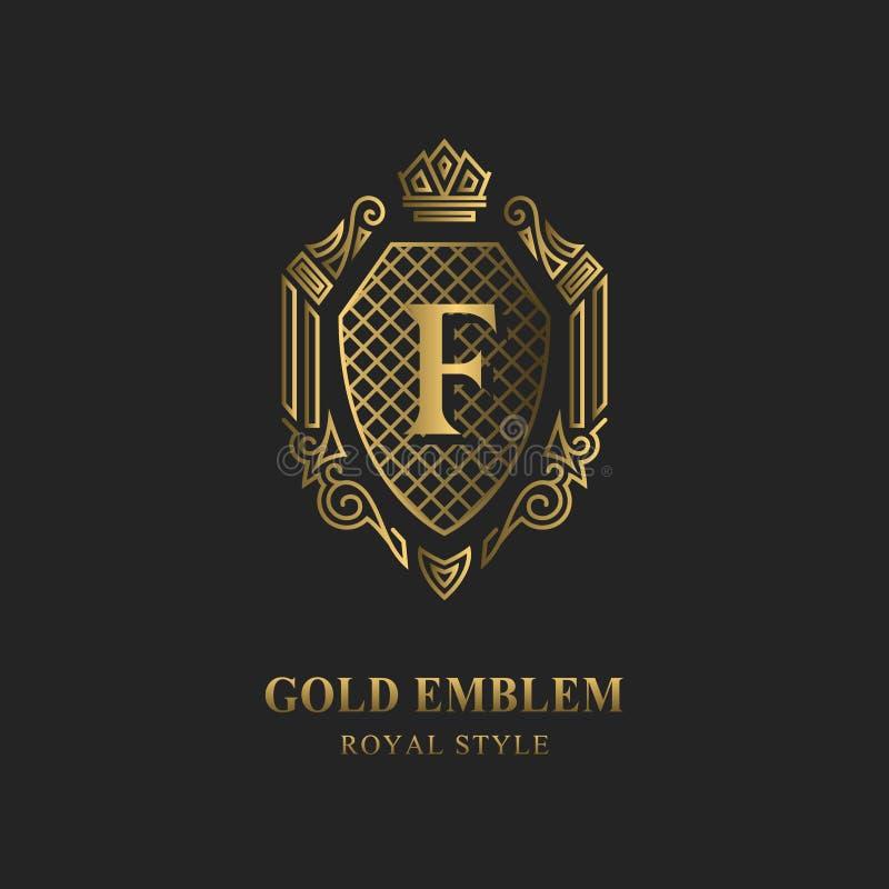 皇家组合图案设计 豪华容量商标模板 3d线装饰品 与信件F的象征企业标志的,徽章,冠, la 向量例证