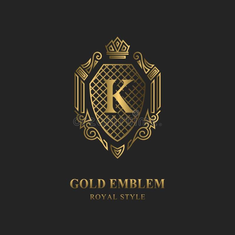 皇家组合图案设计 豪华容量商标模板 3d线装饰品 与信件K的象征企业标志的,徽章,冠, la 向量例证