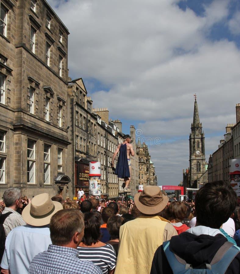皇家英里的爱丁堡街道执行者 库存图片
