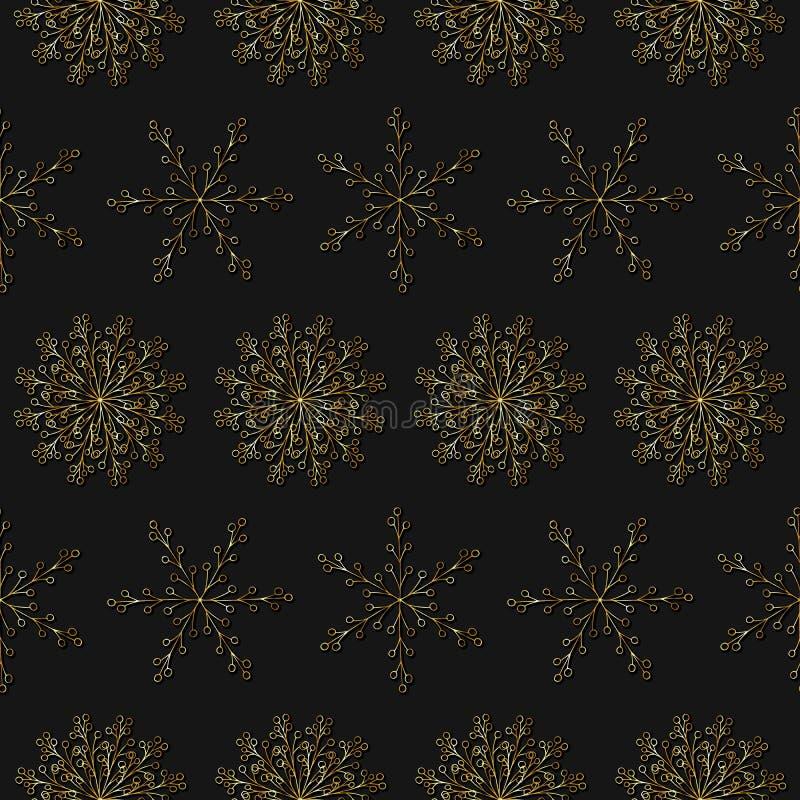皇家葡萄酒无缝的样式 重复与金雪花的美好的传染媒介纹理在黑背景 美好的圣诞节设计例证向量 库存例证