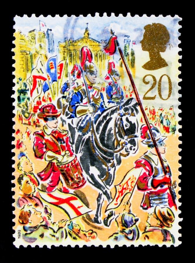皇家邮件马车,市长阁下` s展示,伦敦serie,大约1989年 库存图片