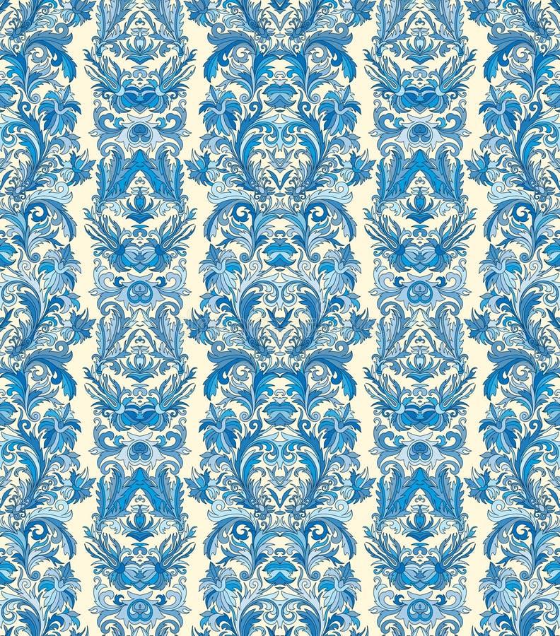 皇家镶边无缝的样式 洛可可式的花卉墙纸 锦缎背景 皇族释放例证