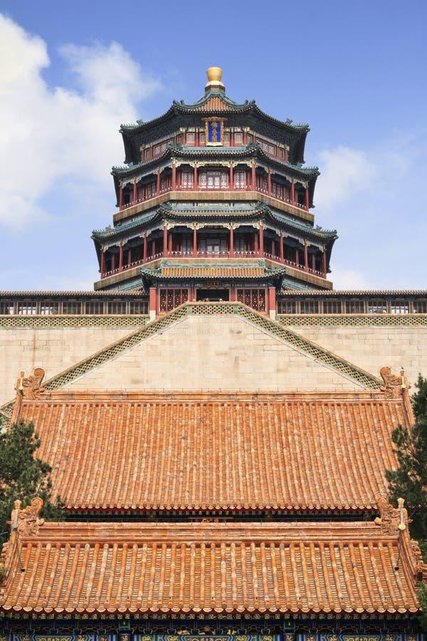 皇家颐和园的塔在北京,中国 库存图片