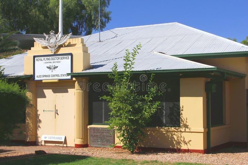 皇家飞行医生Service在爱丽斯泉,澳大利亚 库存照片