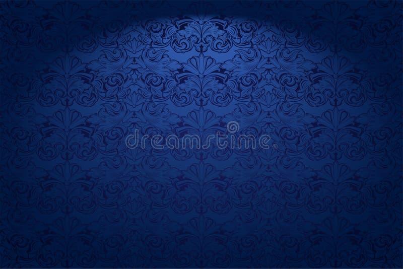 皇家,葡萄酒,在深蓝佛青色与一个经典巴洛克式的样式,洛可可式的哥特式水平的背景 库存例证