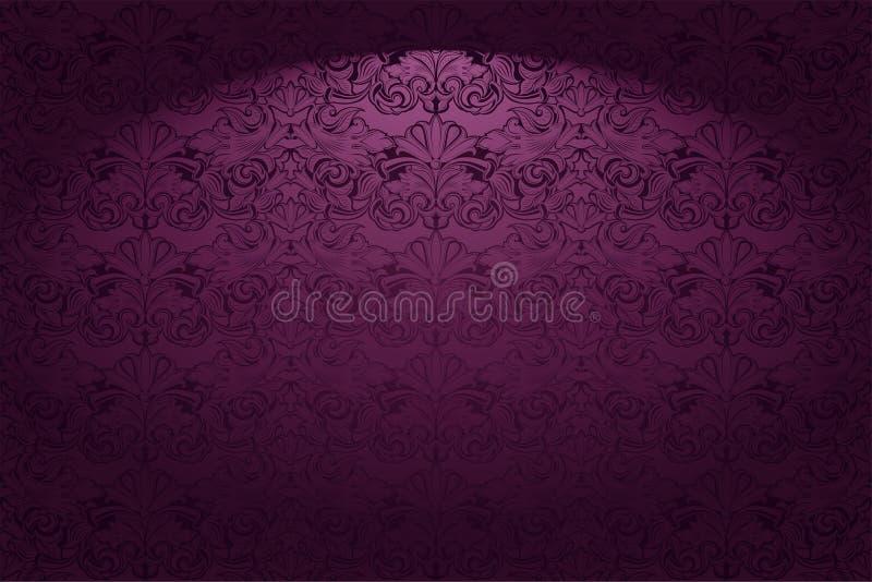 皇家,葡萄酒,在紫色的哥特式水平的背景,洋红色与一个经典巴洛克式的样式,洛可可式 皇族释放例证
