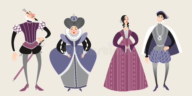 皇家 童话字符 在幻想服装的滑稽的漫画人物 库存例证
