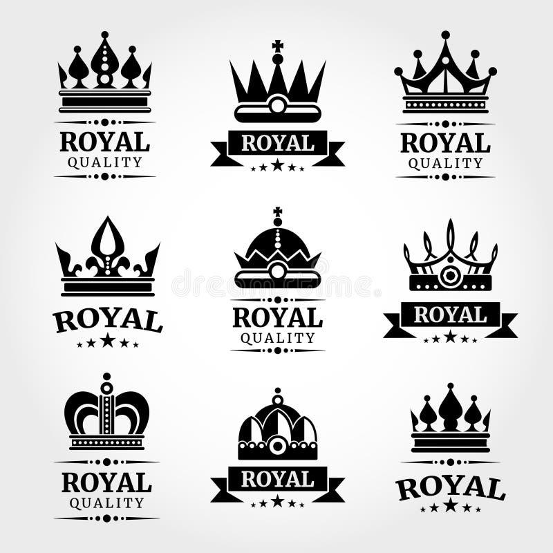 皇家质量传染媒介冠商标模板在黑色设置了 库存例证