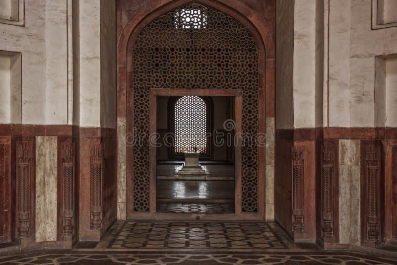 皇帝'胡马雍'新德里,印度细节坟茔  免版税库存照片