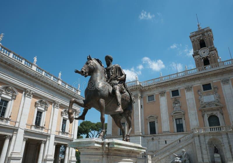 皇帝Capitoline广场的Marc Aurel雕象  库存照片
