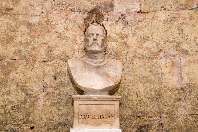 皇帝Diocletian, Diocletian宫殿,分裂,克罗地亚地下胸象  免版税图库摄影