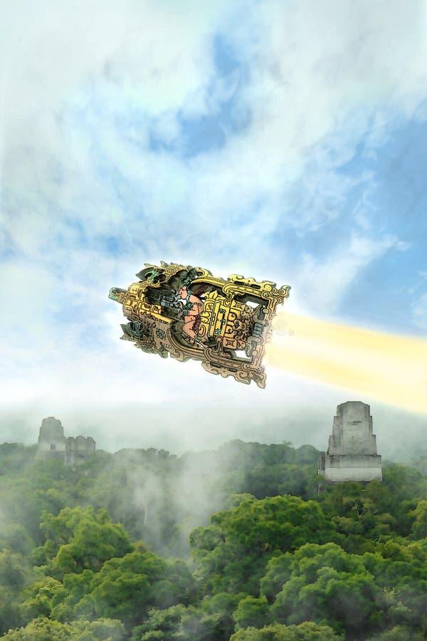皇帝Pacal和太空飞船 向量例证