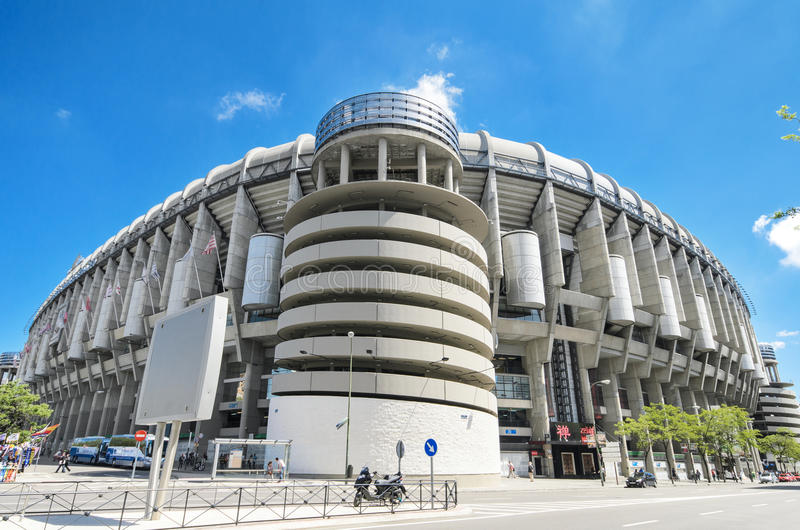 皇马橄榄球俱乐部圣地亚哥Bernabeu体育场 免版税库存照片