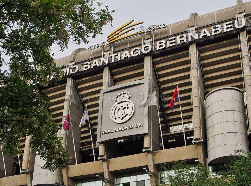 皇马橄榄球场前面门面,马德里,西班牙 库存照片