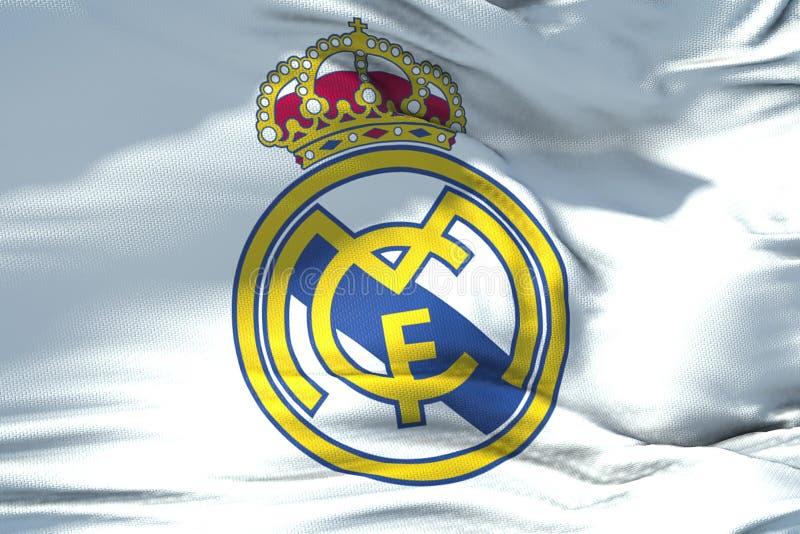 皇马C挥动的织品纹理旗子  f 橄榄球俱乐部,关于 免版税库存照片