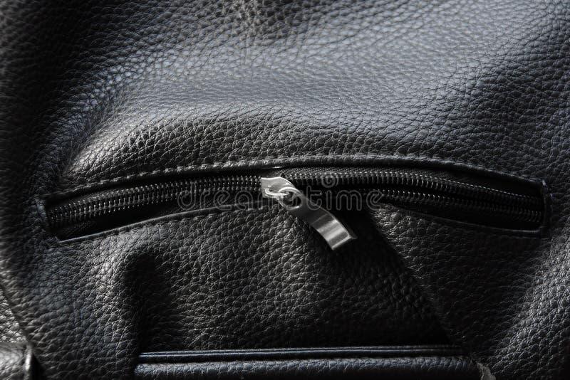 皮包夹克纹理背景黑色拉链锁袋子韩 库存照片