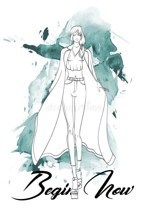 皮包骨头的牛仔裤、女衬衫和外套的美丽的年轻女人 手拉的时尚女孩 E ?? 向量例证