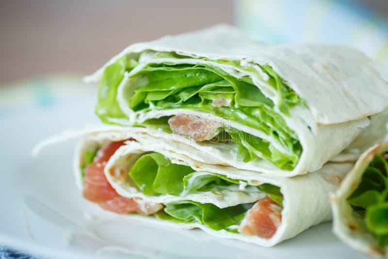 皮塔饼用沙拉和盐味的三文鱼 免版税图库摄影