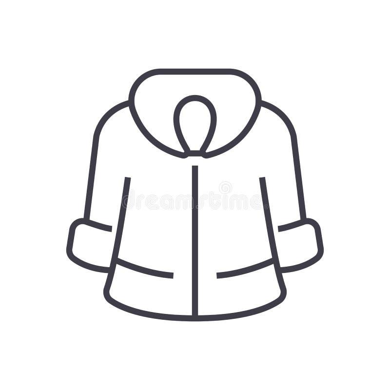 皮大衣传染媒介线象,标志,在背景,编辑可能的冲程的例证 皇族释放例证