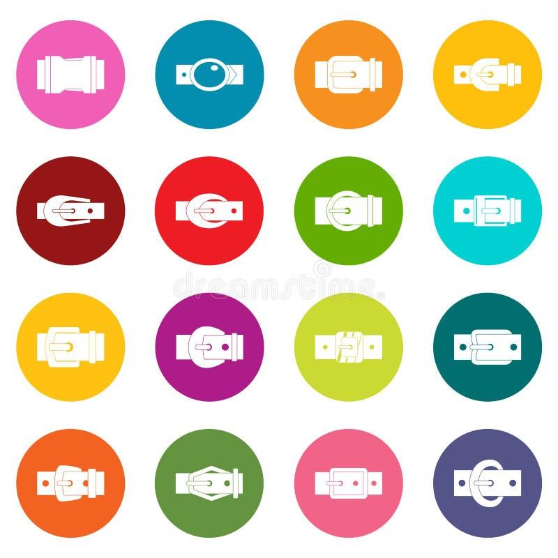 皮带扣象许多彩色组 向量例证