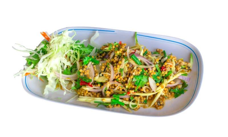 皮条客蛋沙拉辣泰国食物 免版税库存照片