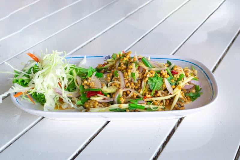 皮条客蛋沙拉辣泰国食物 免版税图库摄影