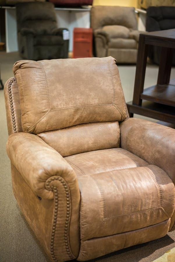 皮椅可躺式椅 免版税库存图片