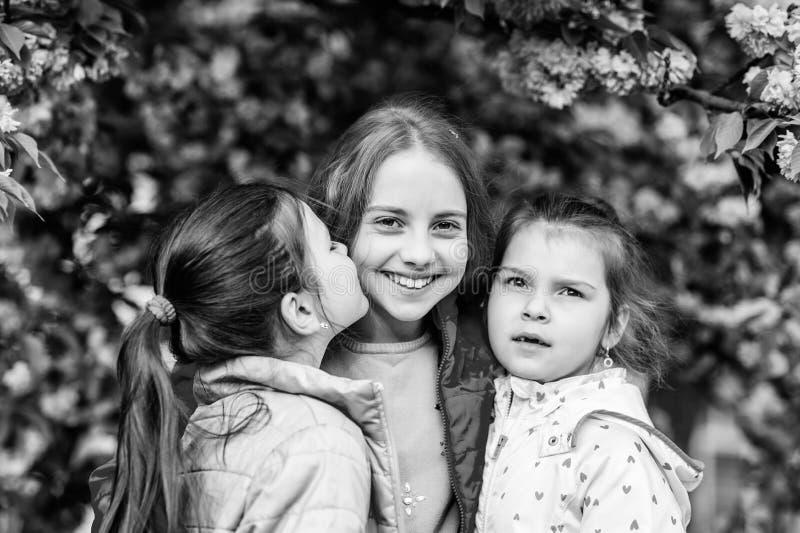 皮肤的天然化妆品 春天花绽放的小女孩孩子 樱桃花的愉快的姐妹 佐仓开花 库存图片