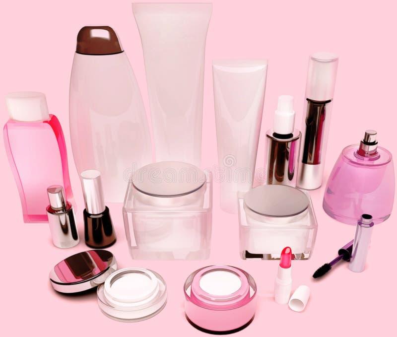 皮肤,头发,在桃红色的装饰化妆用品关心产品  库存照片