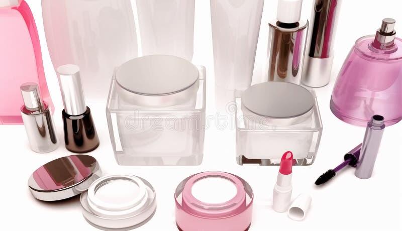 皮肤,头发,在白色的装饰化妆用品关心产品  免版税库存照片